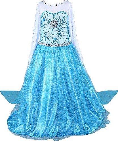Ice Princess Costume Child (IWISHME Girls Deluxe Shimmer Ice Queen Costume Snow Princess Dress 9/4-9 Years)