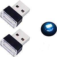 Bello Luna - 2 lámparas USB para interior de coche para portátil, banco de energía, color azul hielo