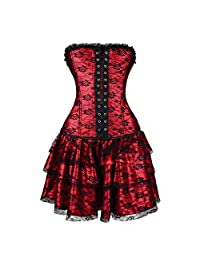 Queenral Corsets Body Shape with Skirt Gothic Steampunk Lace Up Waist Trainer