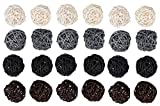 Juvale 24-Pack Multiple Color Wicker Rattan Balls - Decorative Orbs Natural Spheres Craft DIY, Wedding Decoration, Christmas Tree, House Ornaments Vase Filler - 4 Colors Assorted, 45 mm