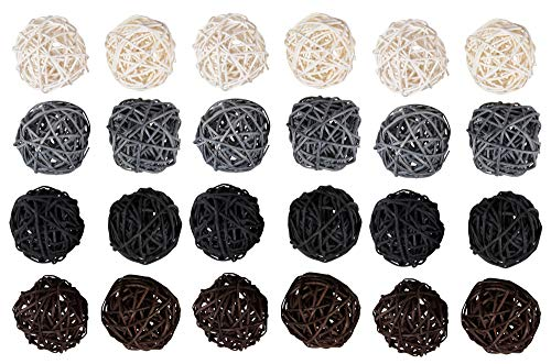 Juvale 24-Pack Multiple Color Wicker Rattan Balls - Decorative Orbs Natural Spheres Craft DIY, Wedding Decoration, Christmas Tree, House Ornaments Vase Filler - 4 Colors Assorted, 45 -