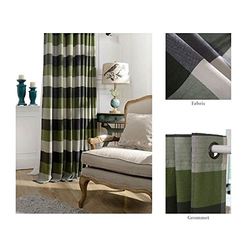 Plaid Curtains Green (Chezmoi Collection Payton Traditional Plaid Grommet Top Window Curtain Panel (52