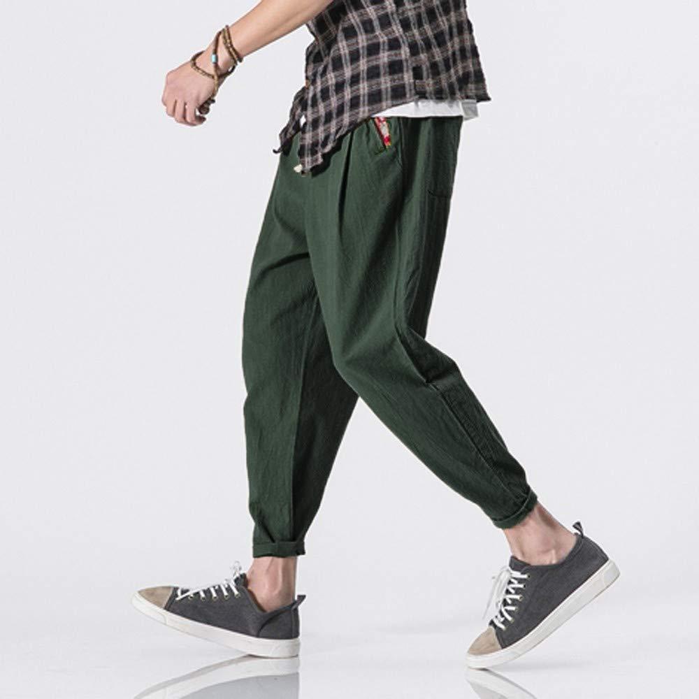 Ratoop-Mens Casual Slim Sports Pants Calf-Length Linen Trousers Baggy Harem Pants