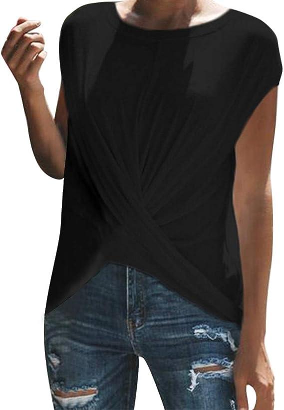 Camisetas Mujer De Deporte Sin Mangas Camiseta SóLido O-Cuello Arriba Fruncido: Amazon.es: Ropa y accesorios