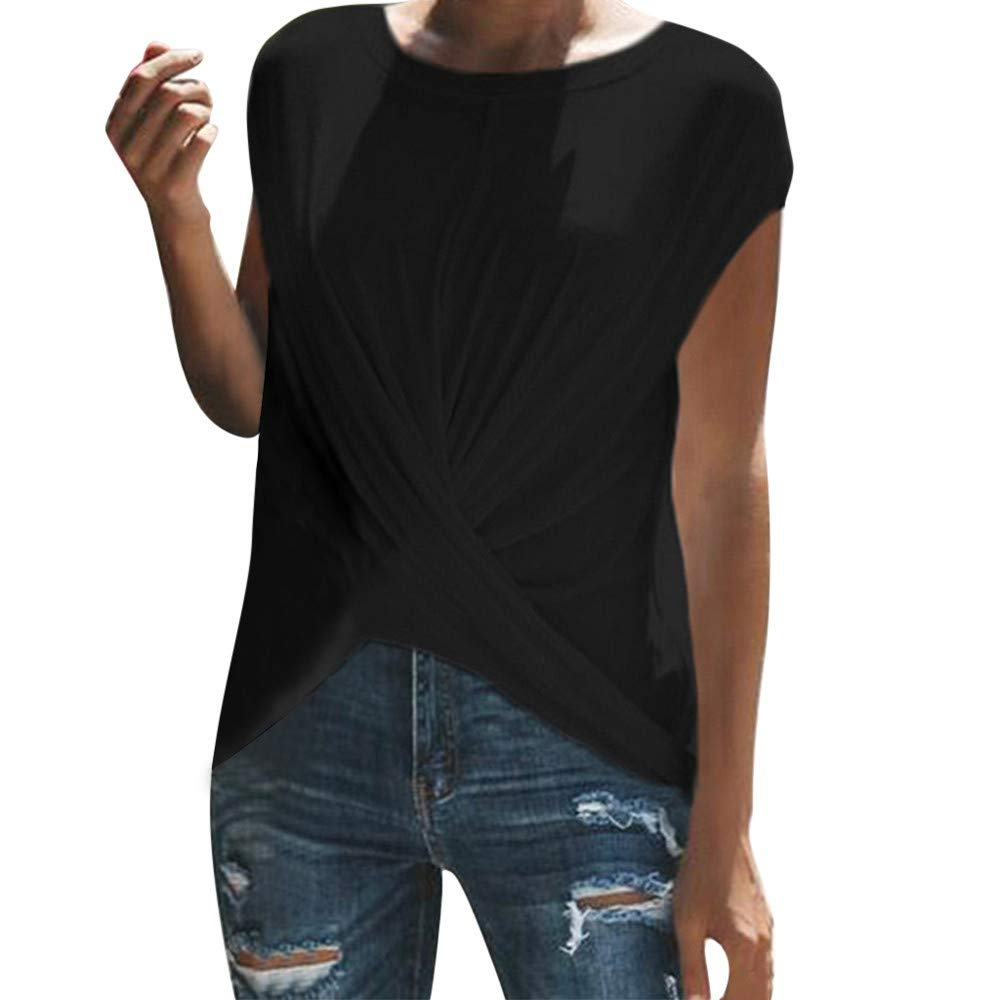 Women Blouse Sale VANSOON Fashion Solid O-Neck Dance Short Sleeve Sport Ruched T-Shirt Top for Teen Girls Black