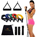 Wacces® New Set of 5 High Quality Covered Resistance Bands with Door Anchor Great for Exercise