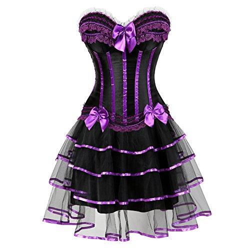 Club Witch - frawirshau Gothic Halloween Lace up Corset Moulin Rouge Showgirl Clubwear Dress Purple Balck XL