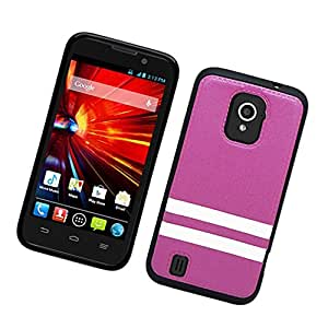 Eagle Cell Hybrid TPU PU Protector Case for ZTE N9511/Source - Retail Packaging - Black/Purple/White Strips