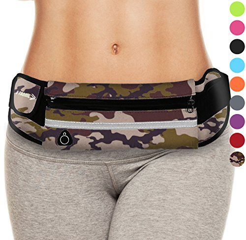 Hiking Travel Waist Bag Pack (Camo) Best Phone Belt Fanny Pouch Waistband Case Holder for Running Camping Sports Workouts Fishing Climbing Hunting Geocashing Walking Camouflage