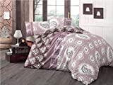 LaModaHome 3 Pcs Luxury Full and Double Bedroom Bedding 65% Cotton Ranforce Double Quilt Cover Set Purple Pink Dotted Square Flower Leaf Elegant Shape