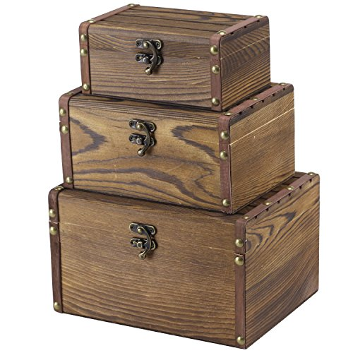 MyGift Set of 3 Vintage Style Wood Decorative Nesting Boxes, Jewelry & Trinket Storage Chests with Latch, Brown (Vintage Storage Wood)