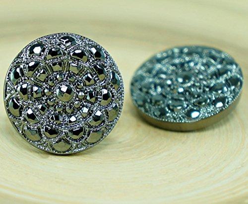 1pc Small Metallic Hematite Silver Flower Handmade Czech Glass Button Size 8, 18mm ()