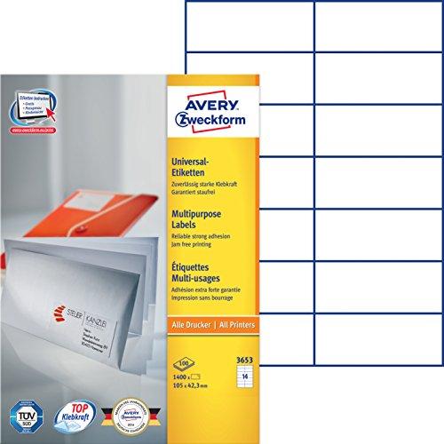 Avery Zweckform 3653 Universal-Etiketten (A4, Papier matt, 1,400 Etiketten, 105 x 42,3 mm) 100 Blatt weiß