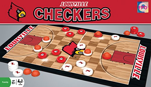 MasterPieces NCAA Louisville Cardinals Basketball Checkers Board Game - College Basketball Board Game