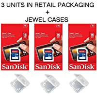 Lot of 3 SanDisk 16GB SD SDHC Class 4 Flash Memory Camera Card SDSDB-016G-B35 Pack + ( 3 Jewel Cases ) …