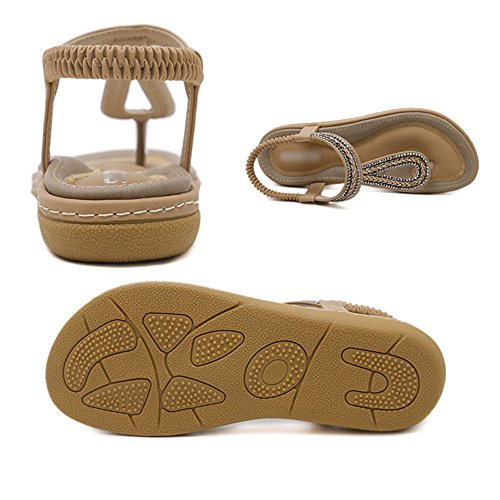 Clip Strap Sandales Femmes Toe Vacances Bride Folk T Chaussures Tressé élastique Blue Style Bohème Cheville Plage De Voyage La Chaussures à rgwr1Exq0