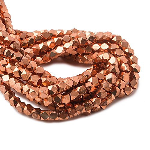 Copper Nugget (3mm Copper Faceted Nugget Beads 8 inch 63 beads)