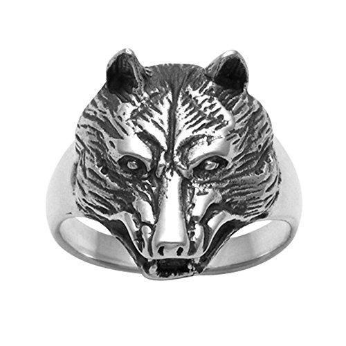 Sterling Silver Wolf Head Ring (10)