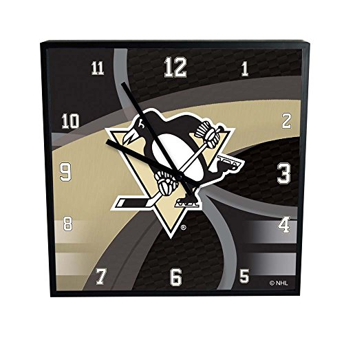NHL Pittsburgh Penguins Official Carbon Fiber Square Clock, Multicolor, One Size