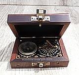 MARINE ART HANDICRAFTS 4 Inch J.Scott Brass Pocket Beatiful Sundial Compass In Fix Wooden Box. C-3178