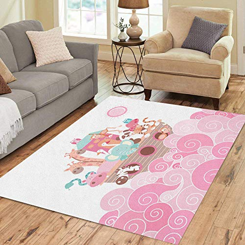 Pinbeam Area Rug Baby Noah Ark Pink Animals Jungle Nursery Elephant Home Decor Floor Rug 5' x 7' Carpet ()