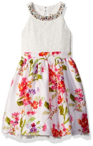 Speechless Girls' Lace Bodice Dress with Printed Skirt
