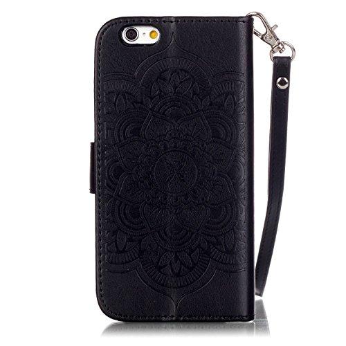 Voguecase® für Apple iPhone 6/6S 4,7 hülle, Kunstleder Tasche PU Schutzhülle Tasche Leder Brieftasche Hülle Case Cover (Diamant/Campanula Blume/Schwarz) + Gratis Universal Eingabestift