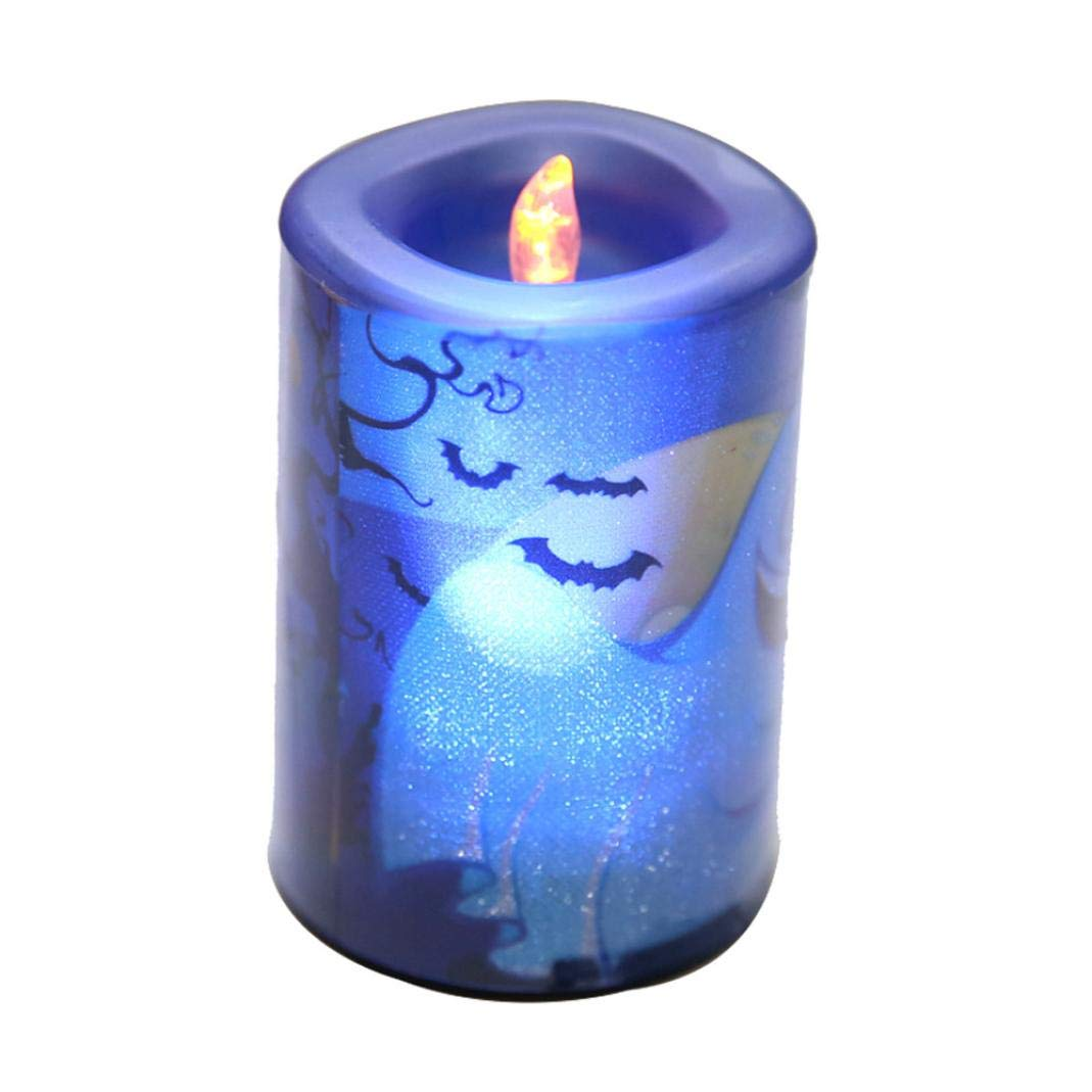 Halloween Decorations,Caopixx Ghost Halloween Candle LED Light Home Garden Light Party Decor Light (one, Blue)