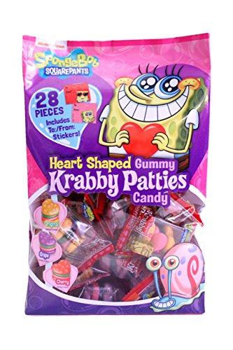 Frankford (1) 28pc Bag Spongebob Squarepants Heart Shaped Gummy Krabby Patties - Original, Grape & Cherry Flavored - Valentine's Day Candy w/