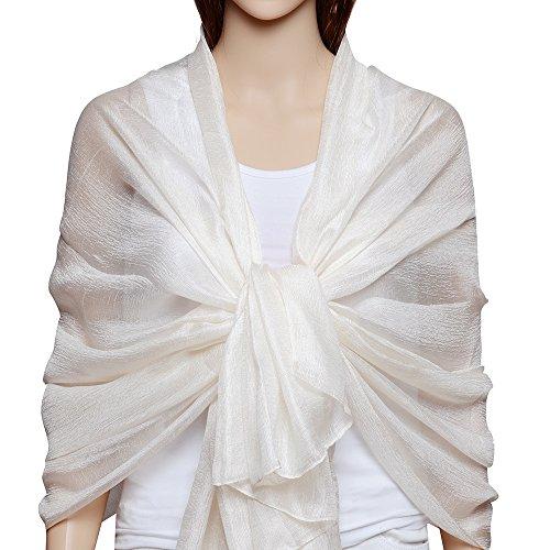 Formal Dress Shawls (QBSM Womens Off White Sheer Large Bridal Evening Party Formal Dress Wraps Scarfs Shawls)