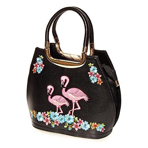 Bolso de mano modelo Flamingos de Banned (Negro) - talla unica