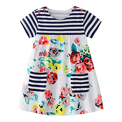 Baby Girls Casual Dresses Summer Cotton Striped Cute Printed Playwear Skirt 5T]()