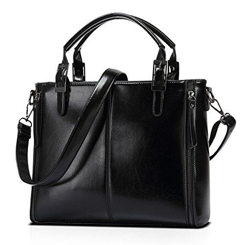 Kigurumi Damen Klassische Handtasche Schultertasche Groß Shopper Taschen Schwarz