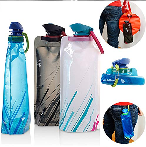 3 Pack Environmental Water Bottles Foldable Portable Kettle Outdoor Sports Travel Collapsible Water Bottle with Leak Proof Twist Cap 700ml