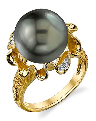 THE PEARL SOURCE 14K Gold 12-13mm Round Genuine Black Tahitian South Sea Cultured Pearl & Diamond Robin Ring for Women