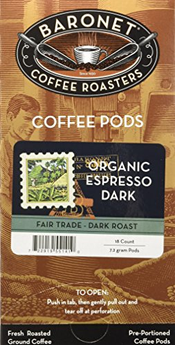 Baronet Coffee Single Fair Trade Organic Espresso ESE Pods, 54 Count (Best Ese Pod Espresso Machine)