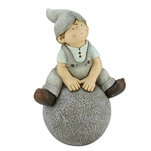 Northlight CB64981 Young Boy Gnome Sitting on Ball Spring Outdoor Garden Patio Figure Statuary and Fountains, 16'', Gray by Northlight
