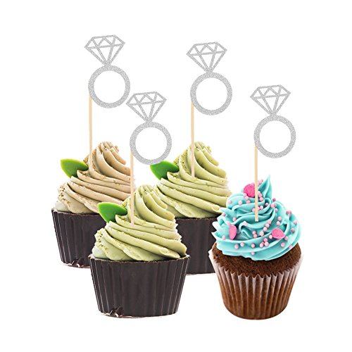 12 Cake Cupcake Ring - DSSY 50 Pieces Glitter Mini Diamond Ring Cakes Toppers Cupcake Picks Toppers for Anniversary, Birthday Party and Wedding Party Decorations (Siliver)