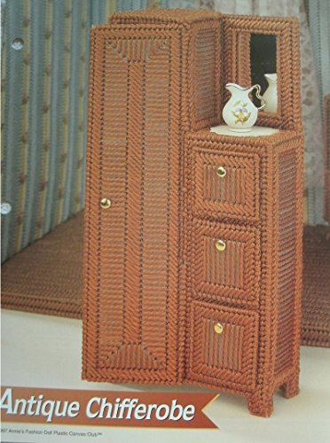 BARBIE OR FASHION DOLL DOLLHOUSE FURNITURE ANTIQUE CHIFFEROBE PLASTIC CANVAS PATTERN FROM ANNIE'S