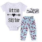 0-18M Infant Newborn Baby Girl Arrow Romper + Long Pants + Headband Layette Set (0-3M, Arrow+Floral)