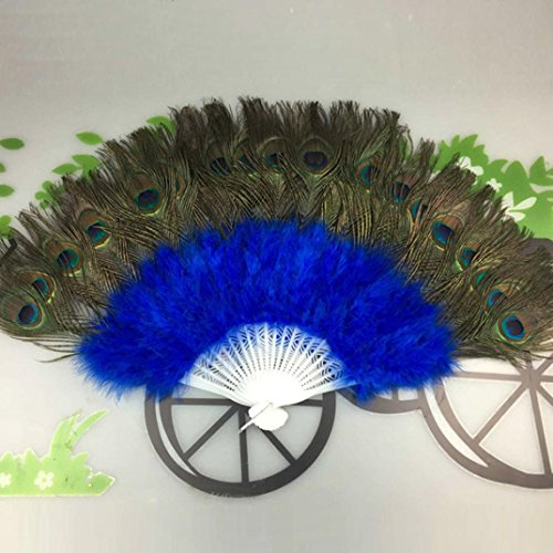 GreatFun Beautiful Peacock Fan Showgirl Dance Stage Elegant Large Feather Folding Hand Fan (Blue)