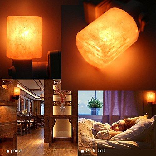 Prountet Natural Crystal Himalayan Hand Carved Crystal Salt Wall Lamp Night Light Plug