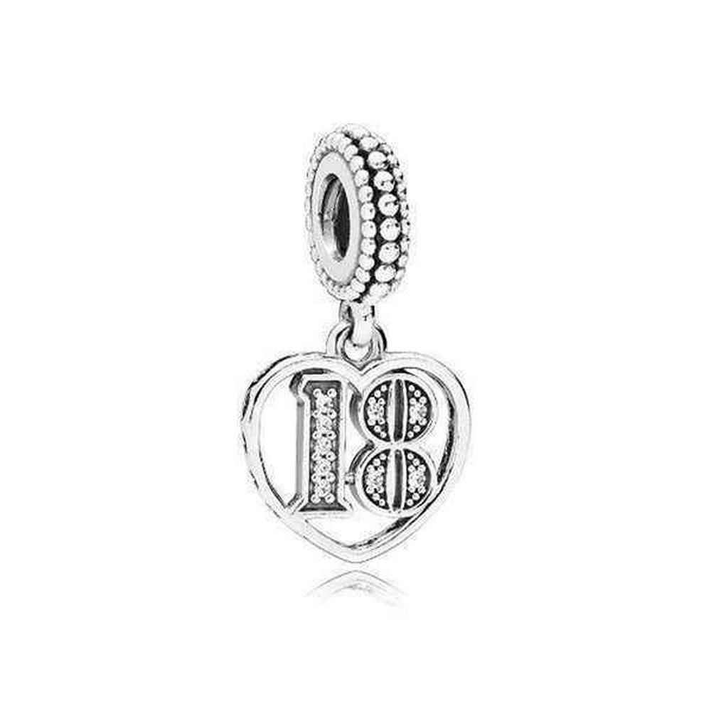 Pandora 18 Years of Love Silver Dangle Charm 797262CZ by PANDORA