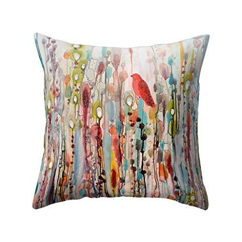 - Bessyn Throw Pillow Covers - Breathable Cotton Fabric Bird Hippie Outdoor Decorative Sofa Square Patio Furniture Pillow Cushion Cases for Couch Garden Bedroom Car Office Neck Rest (Multicolored)