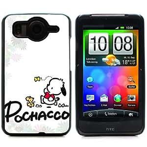 MOBILEONE HTC DESIRE HD Carcasa Trasera Rigida Aluminio Con 3x Protectores de Pantalla y Lapiz Boligrafo - POCHACCO DOG