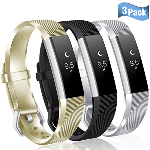 Maledan Replacement Accessories Bands Compatible with Fitbit Alta and Alta HR, 3 Pack, Champagne/Silver/Black, Large
