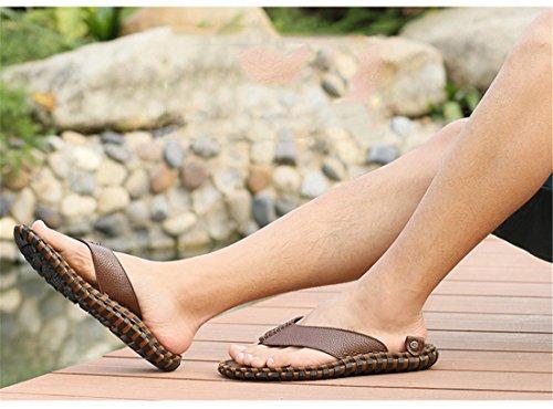 Heren Outdoor Lederen Zomer Strand Lederen Casual Slippers Bbo5089 Bruin