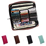 APHISON RFID Card Holder Leather Women Men Credit Card wallets Passport Cell phone Purse/Gift Box 6662(BROWN)