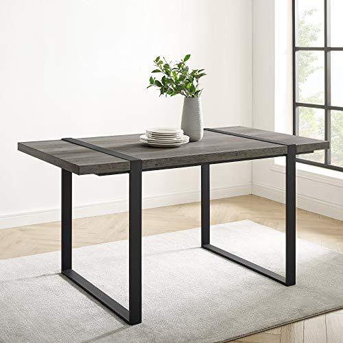 "Walker Edison Furniture Company Urban Industrial Blend Dining Table, 60"", Grey Wash"