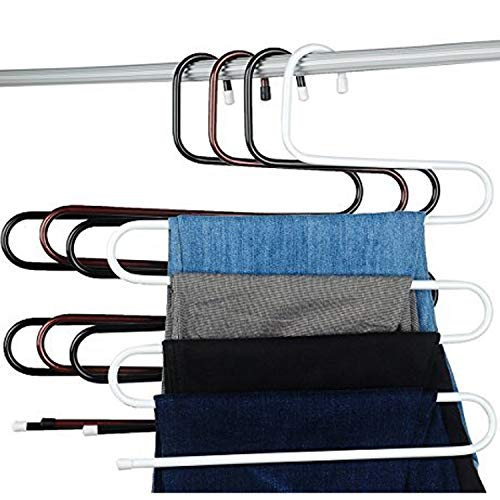 Amagoing 4 Sets S-type Metal Pants Hangers,Closet Storage for Jeans Trousers Space Saver Storage Rack by Amagoing